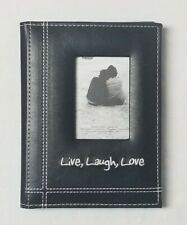 Pioneer Photo Albums LIVE LAUGH LOVE Embroidered Sewn Black Leatherette Frame