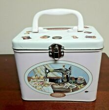 The Singer Sewing Machine Company Pink Tin Sewing Storage Box With Handle
