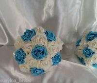 Artificial Aqua Rose Diamante Wedding Bridesmaids Posy Ivory Satin Ribbon