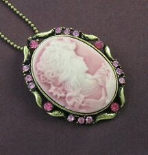 Pink Fuchsia Stone Design CAMEO Necklace Chain Pendant Antique Vintage Style 0b