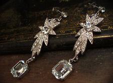 Elegant Vintage Deco Style Emerald Cut Crystal Drop Pierced Earrings