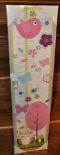 "Kids Home Girl Magnetic 4 ft Wall Growth Chart Canvas Print 32"" x 8"" Flowers NEW"