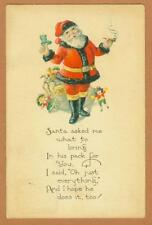 1924 SANTA IN BLACK TRIM SUIT HOLIDAY POST CARD
