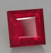 AAA Rated Square Faceted Bright Red Lab Created Ruby (4x4-14x14mm)