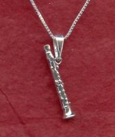 Sterling Silver Clarinet Necklace Solid 925 3D Charm Pendant and Chain Jewelry