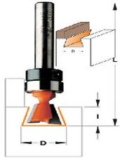 """CMT 7° 11/32"""" Dia. Dovetail Router Bit with Bearing 1/4"""" Shank 818.087.11B"""