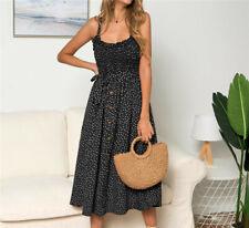 Women Summer Sleeveless Polka Dot Beach Dress Ladies Stretch Holiday Sundress