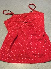 Girl's Cherokee Ultimate Tank Top Size Medium- Red with White Polka Dots