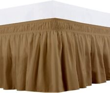 Silk Bed Sheet Wrap Around Bed Skirt Three Side Microfiber Extra Size(Taupe)