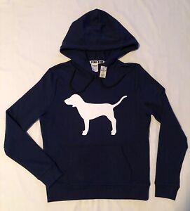 PINK Victoria's Secret pullover fleece sweatshirt hoodie navy blue logo dog S