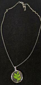 """Gunmetal Gray Artisan Resin Acrylic Green Leaf Herb Sprout Pendant Necklace 24"""""""