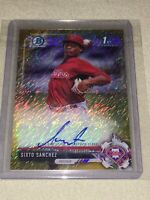 2017 TOPPS BOWMAN CHROME /50 SIXTO SANCHEZ GOLD SHIMMER AUTO ONLY ONE ON EBAY!!!