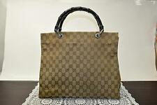 Authentic Gucci Hand Bag GG Bamboo Browns Canvas