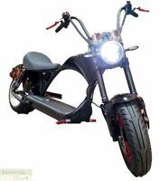 BLACK Electric Scooter Fat Tire Chopper Style 2000W Motor 20AH 60V Lithium Batt