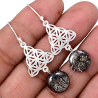 Pyrite In Agate 925 Sterling Silver Earrings Jewelry AE100338 122R
