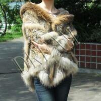 Hood Genuine Real Raccoon+Rabbit fur cape/scarf/Poncho Natural Brown/Gray/Black