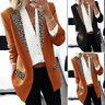 ZANZEA Femme Manteau Couture Leopard Casual Loisir Manceh Longue Manteau Blazer