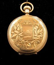 WILLIAM ELLERY WALTHAM POCKET WATCH *SOLID GOLD* BEAUTIFULLY ENGRAVED