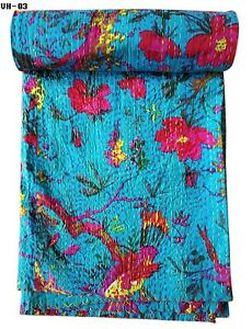 Indian Cotton Handmade Kantha Quilt Twin Size Paradise Printed Bedspread Bedding