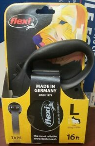 New Flexi Tape Retractable Leash 16ft For Large dogs Up to 110lbs, Black color