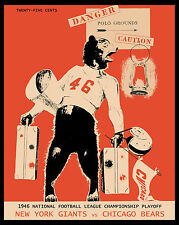 1946 NFL CHAMPIONSHIP GAME (Giants vs Bears) Poster of Game Program, 8x10 Photo
