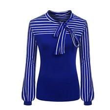 Women's Striped Bow Tie Neck Long Sleeve Blouse Tops Tee Formal Casual Shirt Blue 2xl