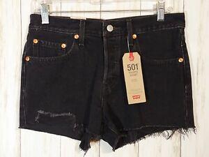NWT Levi's 501 Black High Rise Non Stretch Denim Shorts Women's Size 27