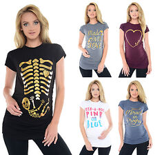 Purpless Maternity Printed Top Tops T-Shirts Pregnancy Designs With Gold Print