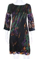 Elie Tahari  Womens Silk Abstract Print  Shift Dress Black Purple Size Small