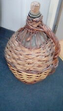 Vintage french wine wicker carafe large