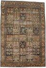 Brown Antique Floral Garden Design 6'5X9'5 Farmhouse Oriental Rug Decor Carpet