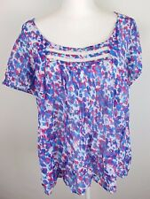 Jessica Simpson Womens Size 1X Sheer Colorful Short Sleeve Lace Tunic Blouse