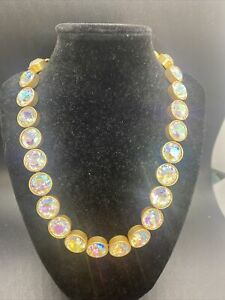 J. Crew BRÛLÉE Brulee Aurora Borealis Crystal Iridescent Dots Necklace