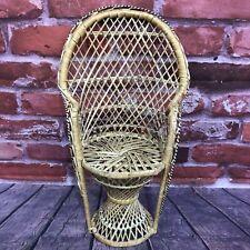 "Vintage Wicker Peacock Fan Back Rattan Chair 16"" Doll Plant Stand Boho Decor"