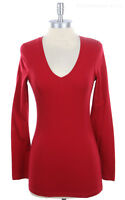 Women's V Neck Long Sleeve Plain Solid Cotton Tee Shirt Top Basic Casual S M L