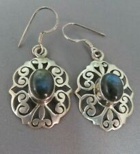 Solid Silver & Labradorite Drop Earrings   xaod.