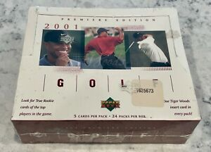 2001 Upper Deck Golf Factory Sealed Box 24 Packs Possible Tiger Woods Rookie RC