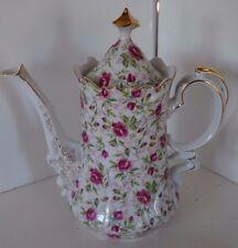 Vintage Lefton Pink Rose Chintz China Coffee Pot