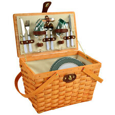 Frisco Traditional American Style Picnic Basket with Service for 2 - Green Plaid