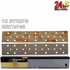 Rhynogrip Plusline 70x420mm P40 Grit 10x HookNLoop Grip Abrasive Sanding Strips