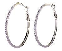 """Swarovski Elements Crystal 2"""" Moonlight Hoop Earrings Rhodium Authentic 7233v"""