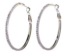 "Swarovski Elements Crystal 2"" Moonlight Hoop Pierced Earrings Rhodium 7233y"