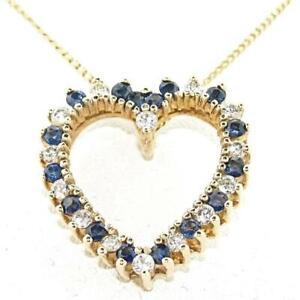 1.36 CT. Genuine Sapphire and Diamond 14K Yellow Gold Heart Pendant.