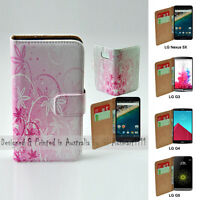 For LG Series Mobile Phone - Pink Floral Theme Print Wallet Phone Case Cover