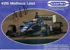 2017 MATHEUS LEIST signed INDIANAPOLIS 500 HERO PHOTO CARD INDY CAR BRAZIL front