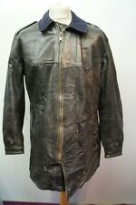 VINTAGE O.S.B. 50's SWEDISH MILITAR LEATHER FLYING CYCLIST JACKET SIZE UK  L/XL