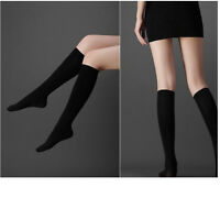 Women Girl's Black Cotton Knee High Socks Calf Support Comfy Relief Stockings