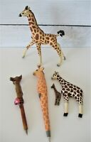 Giraffe Lot Vintage Figurines Pens Magnet Safari Ltd Hand Carved Painted