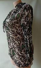 Cordelia St plus size 18 grey animal print long sleeve crinkle top