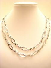 "LONG! NEW! 14K WHITE GOLD 34"" HAMMERED OVAL SWIRL Necklace 8gm-not scrap-LAYAWAY"